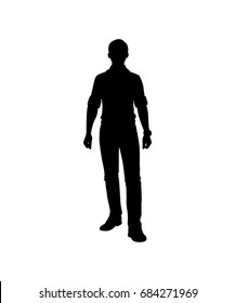 Young man silhouette isolated vector