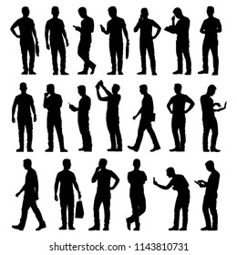 Young man silhouette vector set