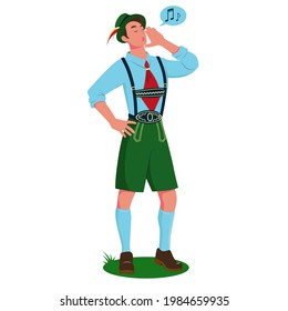 A young man singing a yodel in traditional Bavarian costume. Vector cartoon illustration isolated on white background.