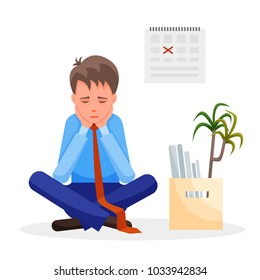 Young man sits upset after loosing his job. Vector illustration colorful isolated on white background