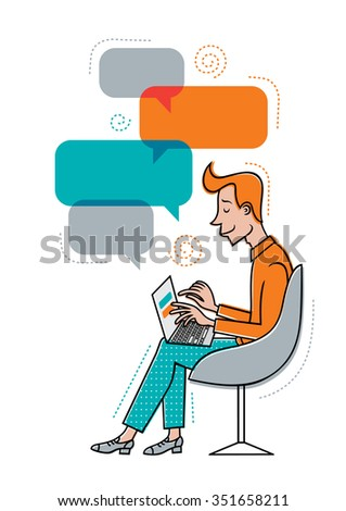 Young Man Sitting Chair Laptop Man Stock Vector Royalty Free