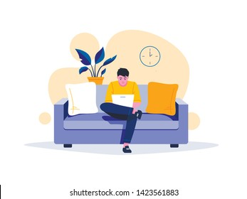 Young man is sitting with laptop on the sofa at home. Working on a computer. Freelance, online education or social media concept. Vector illustration isolated on white