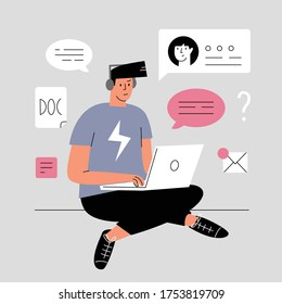 A young man is sitting with a laptop on the floor. Busy person working at home. Project manager works at home. Everyday life of a freelance worker, everyday routine. Vector flat cartoon illustration.