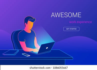 Young man sitting in the office at work desk and working with laptop. Modern gradient line vector illustration of student working, programing or writing. People learning and studying with copy space
