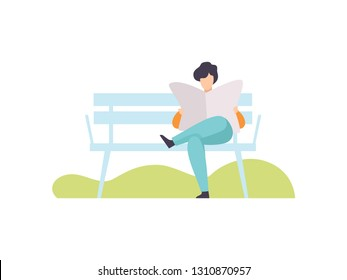 Young Man Sitting on Bench and Reading Newspaper in Park, Guy Relaxing and Enjoying Nature Outdoors Vector Illustration