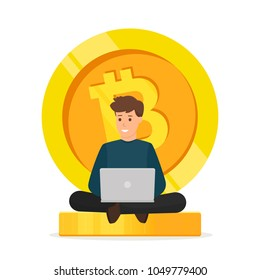 Young man sitting on bitcoi background. Cryptocurrency concept. Blockchain network technology. Vector illustration isolated on white background.