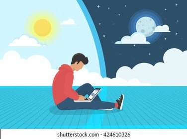 Young man sitting on the floor and working with laptop day and night. Flat concept modern illustration of nonstop social networking, searching and sending email and working as programmer or designer