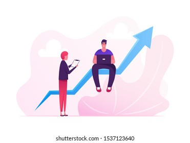 Young Man Sitting on Huge Growing Arrow Working on Laptop, Businesswoman Stand nearby. Businesspeople Working on Growth Data Analysis Graph Financial Statistic Diagram Cartoon Flat Vector Illustration