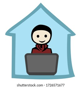 Young man sitting on a notebook in a blue house as silhouette.