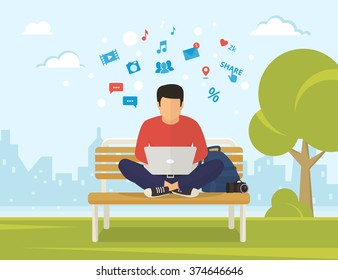 Young man sitting in the park on the bench and working with laptop. Flat modern illustration of social networking and texting to friends