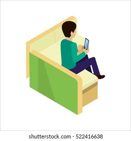 Young man sitting relaxed on sofa with smartphone, waiting for someone. Man doing online shopping. Man make purchases through the internet sitting on the couch. Isometric vector illustration in flat.