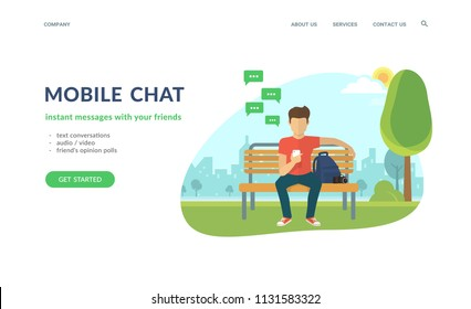 Young man sitting in the street or park and sending message via chat to someone using his smartphone. Flat concept vector website template and landing page design of mobile chat and text conversations