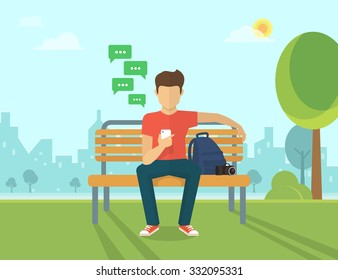 Young man sitting in the street and sending a message via chat to someone using his smartphone. Vector illustration of the mobile chat with friends