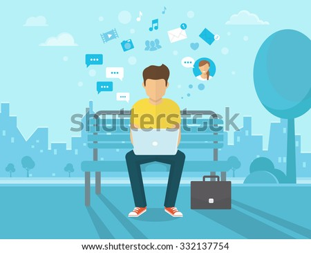 Young man sitting in the street and working with laptop. Flat modern design of social networking and texting to friends. Vector illustration of the man chatting with people using  laptop.