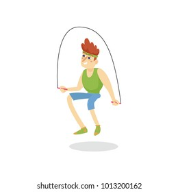 Young man skipping with jump rope, man working out in fitness club or gym, active healthy lifestyle cartoon vector Illustration
