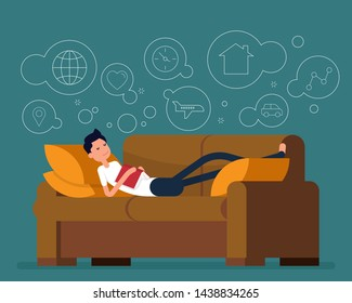 Young man sleeping and dreaming of something. Vector illustration relax concept, Tired man sleeping. Happy flat cartoon character design.