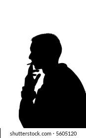 young man smoking (vector illustration)