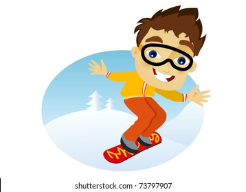 Young man snowboarding in snow against blue sky