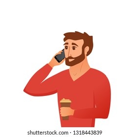 Young man speaking on the smartphone and handing coffee cup. Mobile phone concept of guy talking for web, application, promotion, business. Vector illustration cartoon flat style.