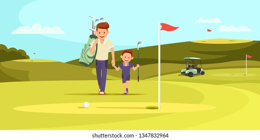 Young Man in Sport Suit with Bag for Golf Clubs on Shoulder Walking Along Green Course with Little Son. Family Passtime. Two Generations of Family Summertime Leisure. Cartoon Flat Vector Illustration.