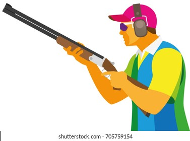 A young man is sportsman a shooter by clay pigeon, which is preparing a shot