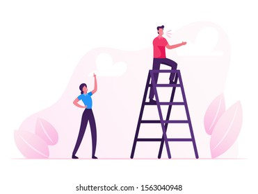 Young Man Stand on Ladder and Yelling, Woman Standing Downstairs with Index Finger Rising Up Managing Process. Social Media Promotion, Businesspeople Call Customers. Cartoon Flat Vector Illustration
