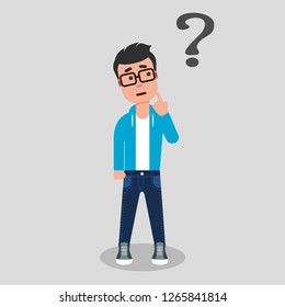 Young man standing below the question mark with finger on his chin. Thinking, making choice, contemplation. Dilemma concept. Stock vector illustration, flat style