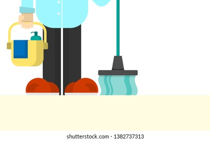 Young man standing with cleaning equipment in the room. Flat design style.