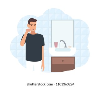 Young man standing in front of mirror in bathroom and brushing his teeth with toothbrush. Daily morning routine, oral or dental hygiene procedure. Flat cartoon colorful vector illustration.