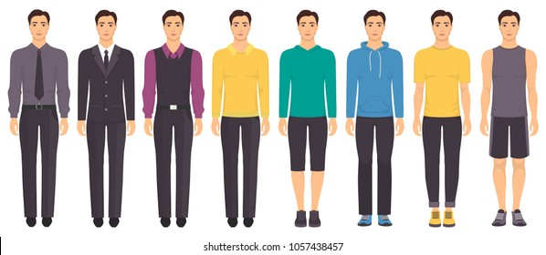 Young man standing in full growth in different clothes, formal, business, everyday, sports. Man in elegant and casual clothes. Basic wardrobe. Vector illustration, isolated