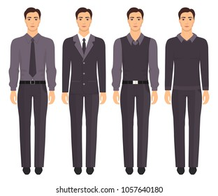 Young man standing in full growth in different formal clothes. Man in elegant and casual clothes. Basic wardrobe. Vector illustration, isolated