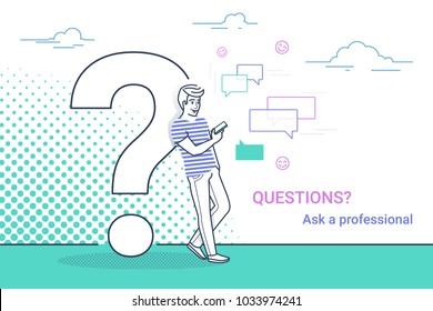 Young man standing near big question symbol and using smartphone for texting to live chat, asking help via internet. Concept line vector illustration of online support on white background with dots
