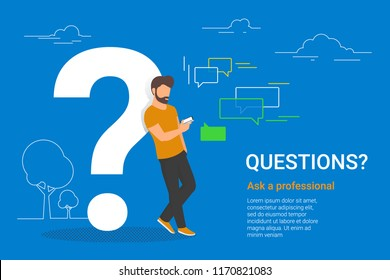 Young man standing near big question symbol and texting to live chat using smartphone, asking for help via internet. Flat line vector illustration of online support on white background with dots