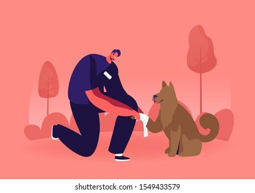 Young Man Standing on Knee Bandage Homeless Dog Paw. Volunteer Take Care and Giving Veterinary Help to Dog Living on Street. Responsibility and Helping to Animals. Cartoon Flat Vector Illustration