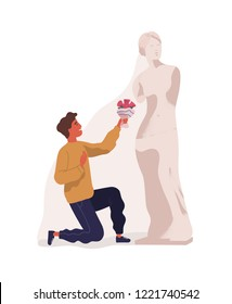 Young man standing on one knee and presenting bouquet of flowers to statue of woman. Concept of idealization of partner, unrequited love, blind affection. Colorful vector illustration in flat style.