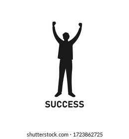 Young man standing and raising hands or arms silhouette. Successful smiling guy. Businessman concept. Career goal logo icon. Victory sign or symbol. Winner pose - Simple vector illustration.