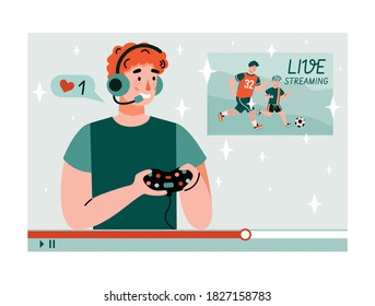 Young man streaming playing videogame on camera for subscribers and viewers. Guy doing cybersports, flat cartoon vector illustration isolated white background