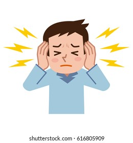 Young man suffering from tinnitus