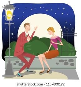 Young man in suit confessing his love to his beloved girlfriend under a full moon in park (vector illustration)