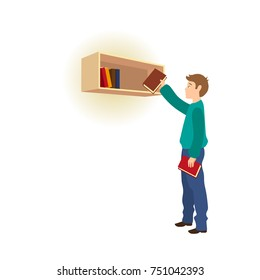 Young man taking, picking a book from bookshelf, shelf in library, store, at home, cartoon vector illustration isolated on white background. Young man taking, choosing, picking a book from bookshelf