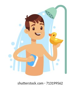 Young man taking shower in bathroom. Guy washing himself. Morning hygiene vector concept. Showering with shampoo foam and bubble illustration