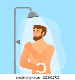 Young man taking shower cartoon vector illustration. Happy guy washing his head, hairs, body with soap under water. Routine hygiene procedure in bathroom concept design for advertising discount