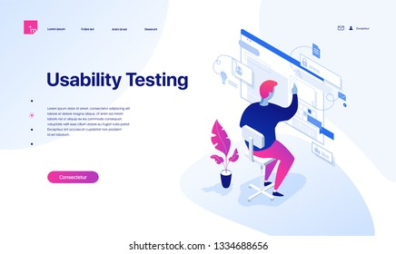 The young man is testing the interface and usability of the website and applications. Isometric vector illustration. Landing page concept.