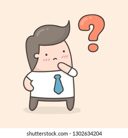 Young man thinking with question mark. Cute cartoon illustration.