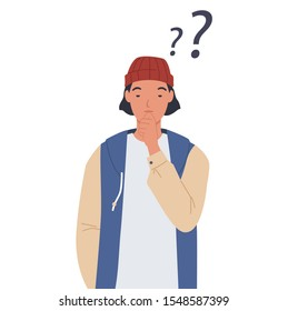 Young man thinking with question mark. Vector illustration in a flat