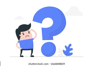 Young man thinking with question mark. Business Concept Illustration.