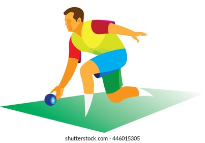 a young man throwing a ball in the traditional British game lawn bowls