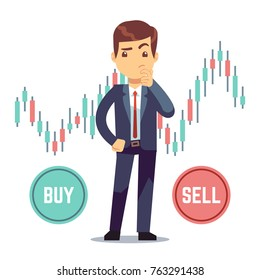 Young man trader and business candlestick chart with buy and sell buttons. Stock market and trade exchange vector concept. Illustration of business trader, finance stock market chart