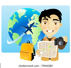 Young man traveling around the world with a map and a camera