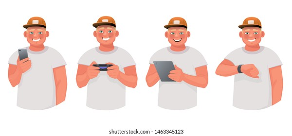 Young man uses various gadgets. The guy is holding a smartphone and tablet, playing video games and looking at the screen of a smart watch. Vector illustration in cartoon style